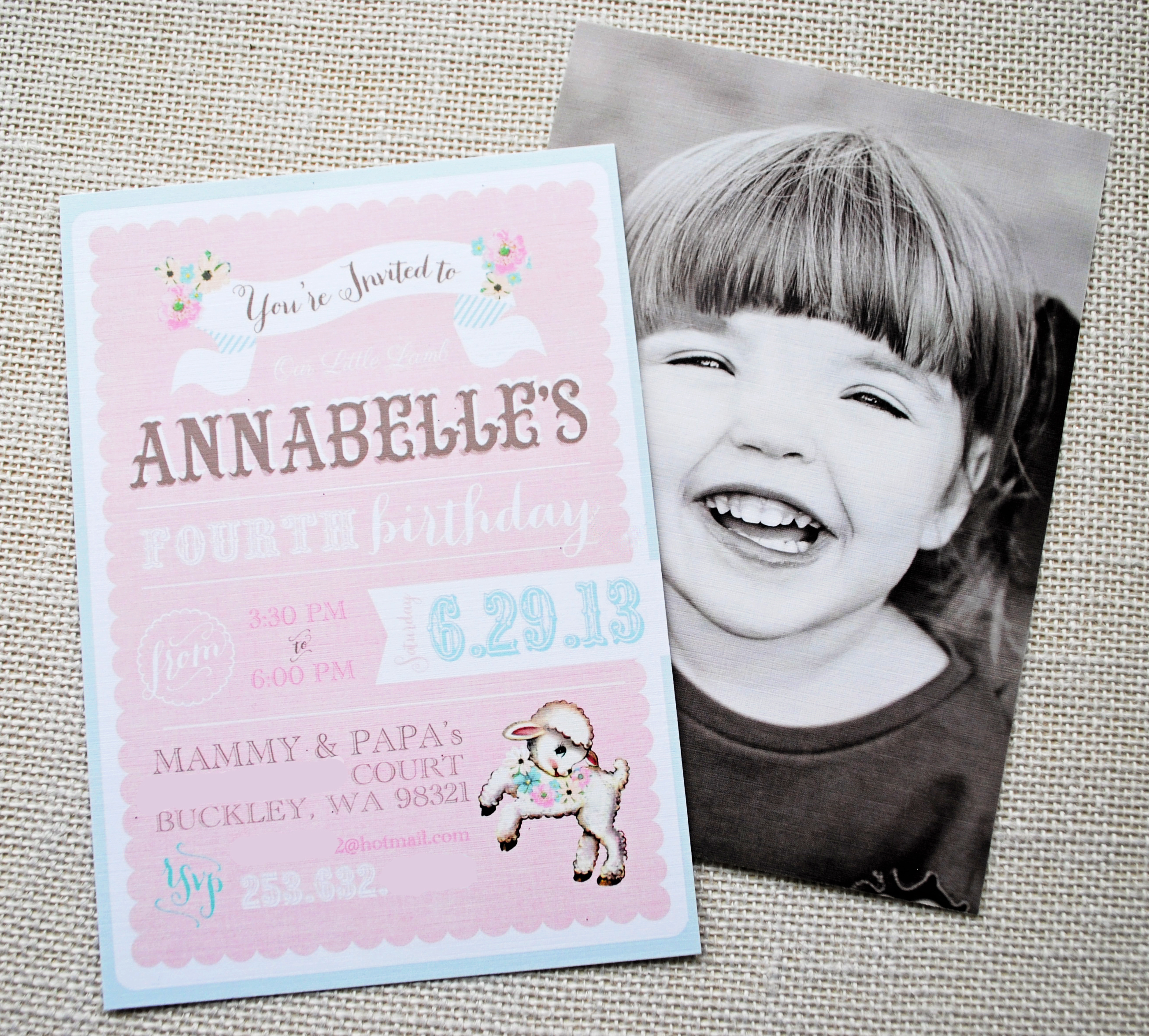 Little Lamb Vintage Girls Birthday Party Itsy BelleItsy Belle - Vintage girl birthday invitation