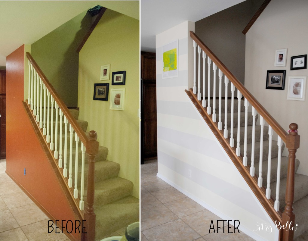 painting Stripes on a Wall - Before and After