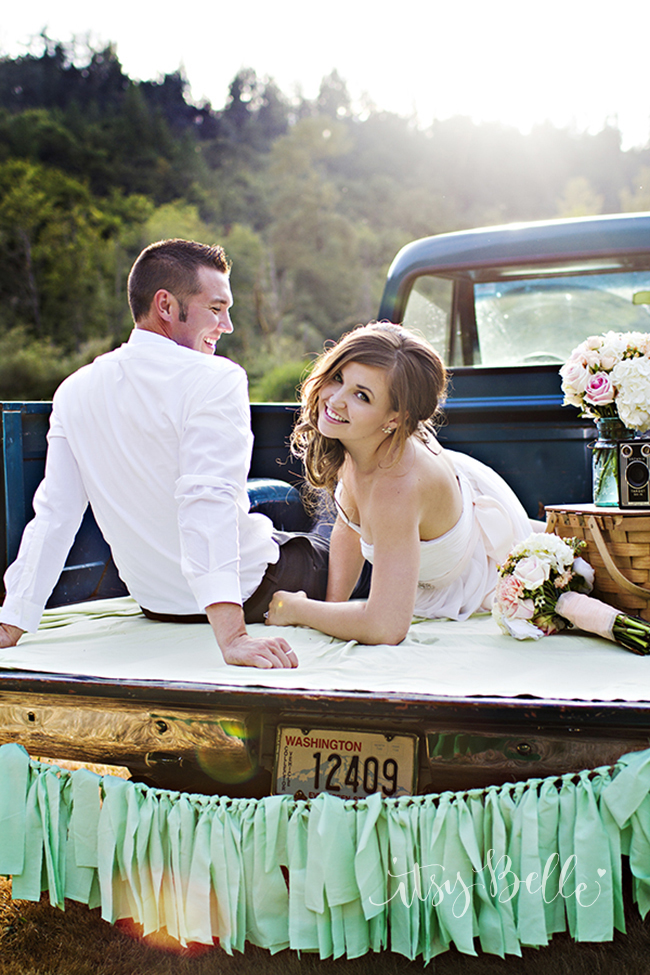 Vintage Truck Wedding Engagement Photos