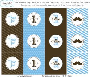 Mustache Bash Party Circles