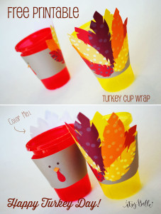 {FREEBIES} Thanksgiving Turkey Day Cup Wraps for the Kid's Table