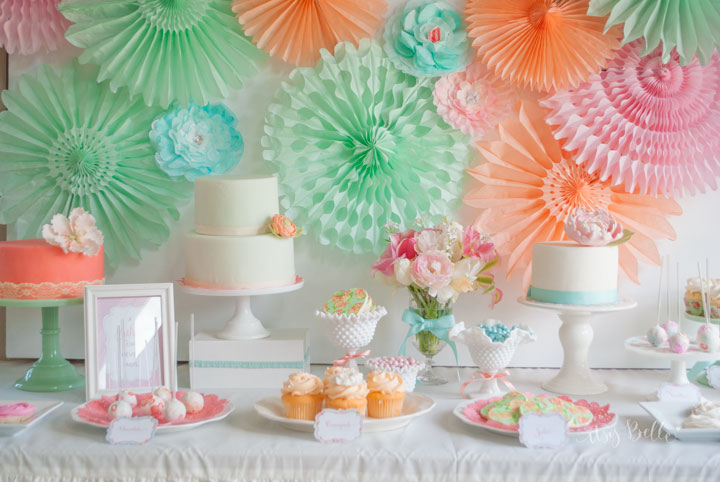 Mint Peach Aqua Pink Dessert Table by Itsy Belle