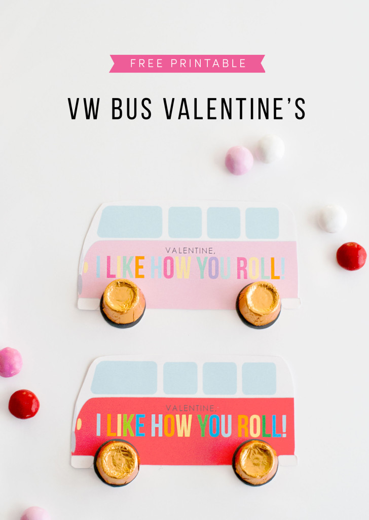 FREE Printable Volkswagen Bus Valentine's Day Cards