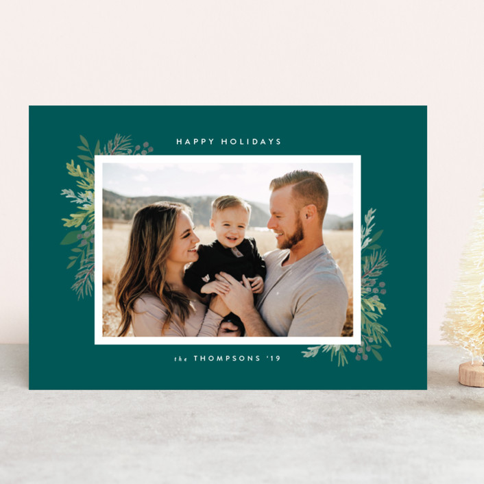 Watercolor Minted Photo Holiday Christmas card by itsy Belle Studio.
