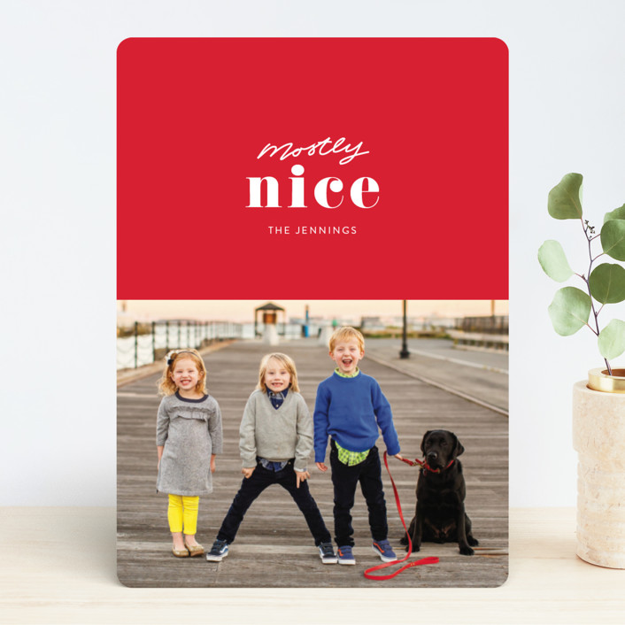 Funny Modern Minted Photo Holiday Christmas card by itsy Belle Studio.
