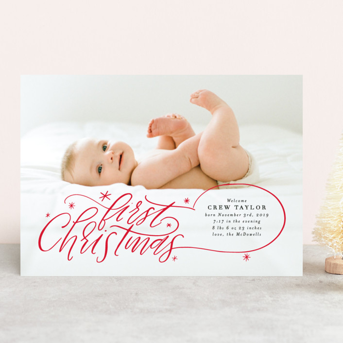 Minted holiday Card by itsy Belle studio. Baby's first Christmas Hand Lettered Photo card.